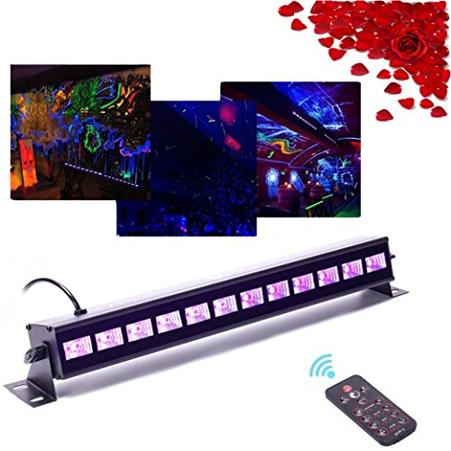 Top-Uking 36W UV Schwarz Lichter LED Bühnenscheinwerfer Bar Licht mit Fernbedienung für Party,Weihnachten,Bar,Bühne,Zimmer,Kindergeburtstag (12LED Mit Fernbedienung)