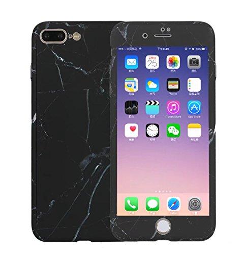 Beige Glasschirm (iPhone 6/6S Plus hülle Marmor 3 in 1 harte PC 360 Grad Schutz ultra dünner matt handy-hülle Kostenlos gehärtetem Glasschirm Schutzfolie.Marmor-Schwarz)