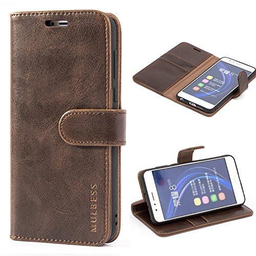 Mulbess Ledertasche im Ständer Book Case / Kartenfach für Huawei Honor 8 Tasche Hülle Leder Etui,Vintage Braun