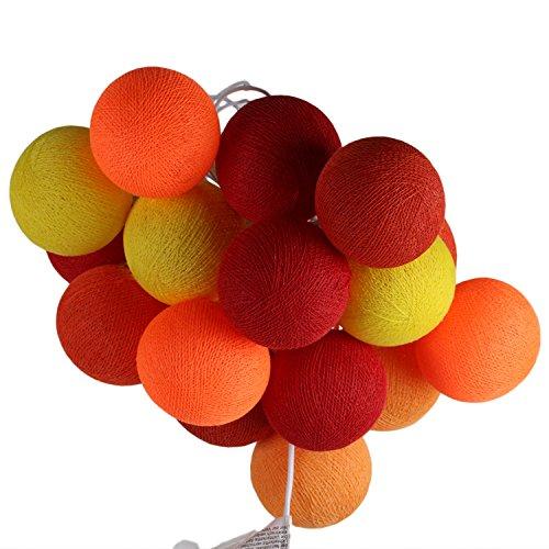 ngs Textil-Lichterkette batteriebetrieben mit 20 handgefertigten Baumwollkugeln Leuchtfarbe rot orange ()