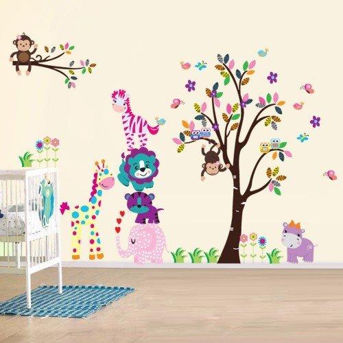 ls - Wandsticker (Wandsticker Wanddekoration Wohndeko Wohnzimmer Kinderzimmer Schlafzimmer Wand Aufkleber) (Baby Animal Names)