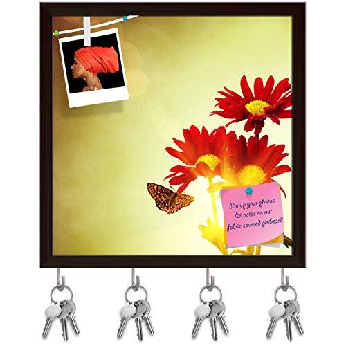 ArtzFolio Red Flowers & Butterfly Under Bright Sunny Sky Key Holder Hooks | Notice Pin Board | Dark Brown Frame 20 X 20Inch -