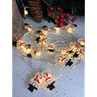 Homes on Trend 20 LED Christmas Character Designs Fairy Lights Silver Wire Tree Garland Battery
