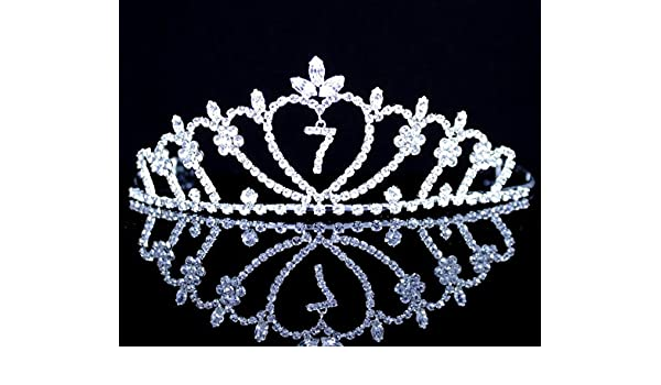 Seven-Year-Old Rhinestone Tiara Crown W// Hair Combs Girl 7th Birthday Party T818