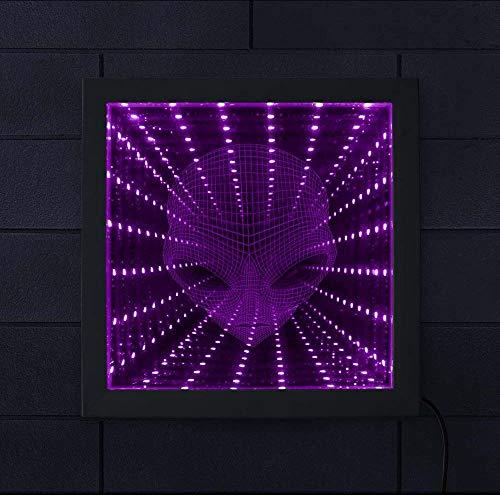Layyyqx Alien Head Farbänderungen Beleuchtete Illusion Spiegel Untertasse Mann Led Unendlichkeit Spiegelrahmen 3D Atemberaubende Optische Täuschung Tunnel Lampe