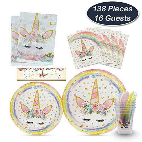 WERNNSAI Einhorn Partyzubehör Kit - Magisch Party Favor für Kinder Mädchen Kinder Mädchen Geburtstagsfeier Deco Tischtuch Teller Servietten Tassen Utensilien Flasche Papierverpackung 16 Gäste