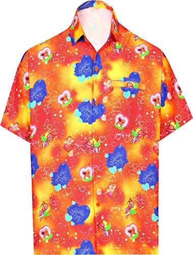 LA LEELA Hawaii-Hemd Strand Männer für ihn präsentiert Shirt für Männer Thema-Partei netten Liebesherz romantischen Date Paare Aloha Valentinstag Orange XL