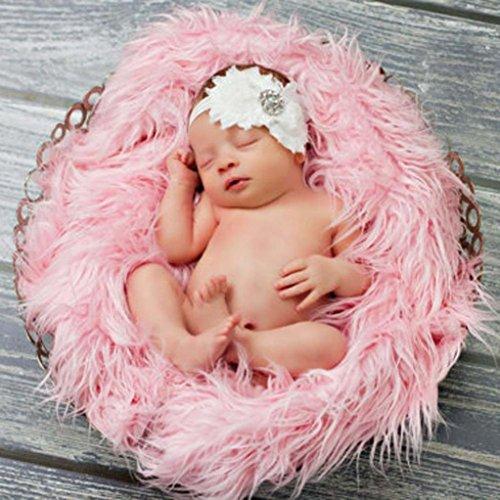 Ouneed® Mat photographique/Nouveau-né Props Écharpe photo de bébé Props Photographie Quilt Mat Photographique (rose)