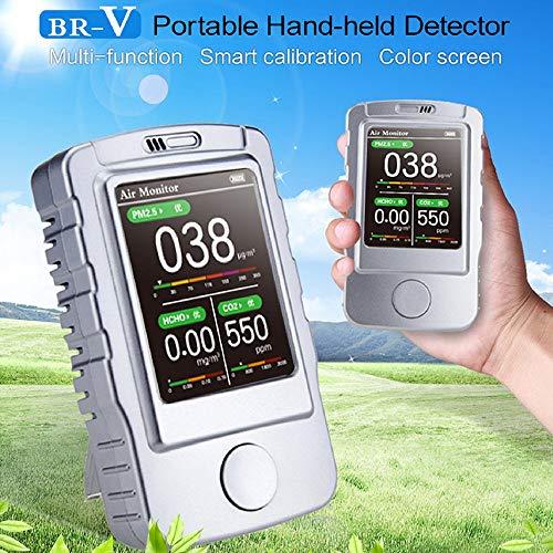 Gas-Alarm-Detektor, Handmessgerät, BR-V Luftqualitätsmonitor für PM1.0 PM2.5 PM10 TVOC CO2 7,1 cm Bildschirm & Hintergrundbeleuchtung, USB-aufladbares Schalllicht -