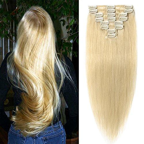 Echthaar Clip in Extensions günstig Haarverlängerung 8 Tressen 18 Clips Remy Human Hair 45cm-70g(#24 Mittelblond)