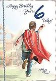 Cards Galore Online Alter 6Boy Geburtstagskarte–Little Boy, Rot Kap, Big Slide & Garden 19,1x 13,3cm