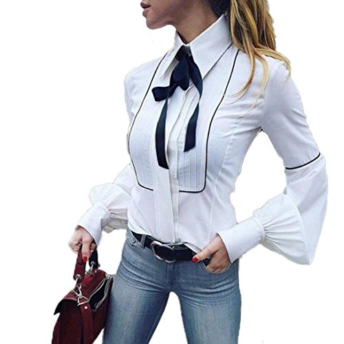 Sunnywill Damen Blusen Pullover Streetwear Lange Laterne Ärmel Büroarbeit Weiß Basic Buttons Fliege Bluse Top (White, M)