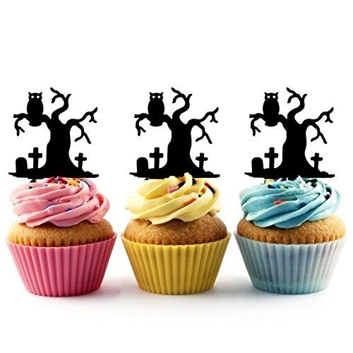 Halloween Owl In The Cemetery Kuchenaufsätze Hochzeit Geburtsta Acryl Dekor Cupcake Kuchen Topper Stand für Kuchen Party Dekoration 10 Stück
