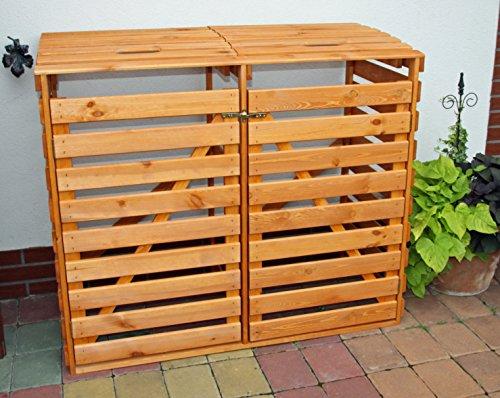 Holz Mülltonnenbox 120L für 2 Tonnen