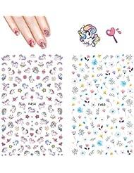 Einhorn Nagel Aufkleber Abziehbilder - Hippomee 3D Nail Art Sticker selbstklebende Nagelspitzen Dekorationen für Kinder Mädchen Frauen (4 Blatt)