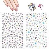 Stickers Ongles Licorne - Autocollants Hippomee 3D Nail Art Autocollants pour ongles autocollants Décorations pour enfants filles femmes (4 feuilles)