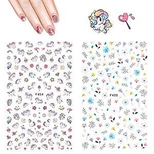 Einhorn Nagel Aufkleber Abziehbilder Hippomee 3d Nail Art Sticker