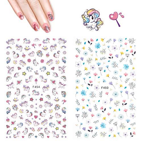 Einhorn Nagel Aufkleber Abziehbilder - Hippomee 3D Nail Art Sticker selbstklebende Nagelspitzen...