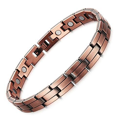 AILSAYA Kupfer Armband, Rotes Kupfer Magnet Armband Vintage Magnetische Energie Kupfer Armband Verstellbare Armreifen Arthritis Armband ~ Für Karpaltunnel Migräne Wechseljahre Reduziert Müdigkeit (Rädern Magnet Auf)