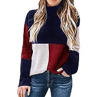 Mujeres Colorblock Soporte de Manga Larga de Punto Suéter Blusa Tortuga Cuello Suéter Patchwork Jersey Jumper Tops S-XL