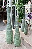 Gilde Keramik Bodenvase Reed grün gewischt L = 21,5 x B = 21,5 x H = 100 cm