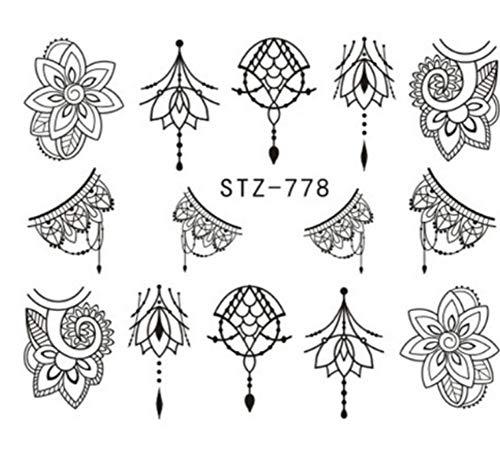 lxyqw adesivo per unghie fiore collana nail sticker tatoos nails art decor nail manicure wrap accessori cuore decalcomanie fai da te b