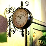 Estilo europeo reloj de hierro forjado de doble cara del Mediterráneo Oriental reloj Relojes de pared Reloj de pared antiguas colgadas en el reloj de pared retro silencio