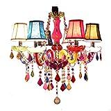 MXK-Lampe Kronleuchter Aus Kristall Und Stoff Lampenschirm Ø60cm 6 Arm Bunte Luxus Innenbeleuchtung Höhenverstellbar (E14 Ohne Glühbirne)