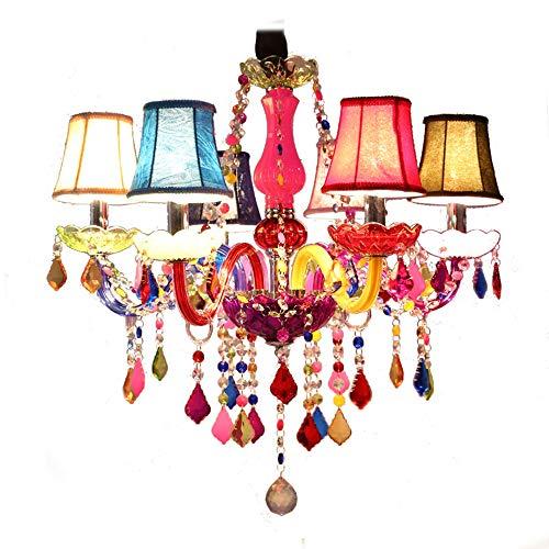 MXK-Lampe Kronleuchter Aus Kristall Und Stoff Lampenschirm Ø60cm 6 Arm Bunte Luxus Innenbeleuchtung Höhenverstellbar (E14 Ohne Glühbirne) -