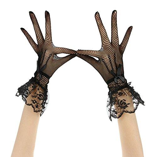 JIAHG Kurz Brauthandschuhe Spitzenhandschuhe Hochzeithandschuhe Gestrickt elastisch Netz Handschuhe...