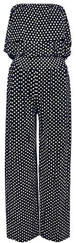 Nouveau Dames Plus Taille Off Épaule Frill Haut Bandeau Vaste Jambe Palazzo Jumpsuit 36-50 Navy blue