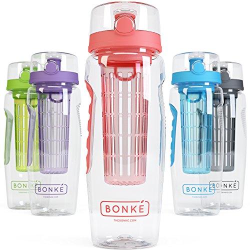 Bonke Trinkflasche für Fruchtschorlen - Große 1 Liter BPA-freie Sportflasche – Wasserflasche mit Gummigriff und extra sicherem Verschlusssystem – 1 Jahr Garantie (Tangerine) (Wasser Flasche Mit Filter, 1 Liter)