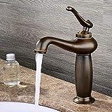 YWYQZ Wasserhahn Europäischen Antike Kupfer Heißen Und Kalten Einloch-Armatur Bad Waschbecken Messing Vintage Waschtischarmaturen