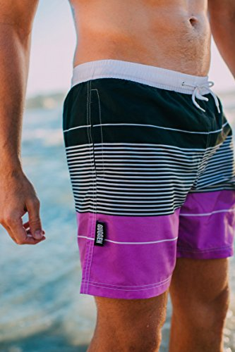 GUGGEN MOUNTAIN Herren Badeshorts Beachshorts Boardshorts Badehose gestreift *High Quality Print* Lila