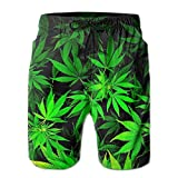 Mei-ltd Casual Herren Badehose schnell trocknend Cool Green Amazing Weed Leaves Printed Beach Shorts Summer Boardshorts Gr. L/XL, Cool Green Amazing Weed Leaves