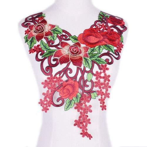 1 Stück Rot/Violett/Gelb Venise Spitzenstoff Kleid Applikation Motiv Bluse Nähen Besätze DIY Halsausschnitt Kragen Kostüm Dekoration Zubehör rot