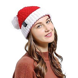 WARMWORD_Navidad Sombrero de Tejer, Gorro de Lana de Santa Claus Talla única para la mayoría de Las Personas Gorro de Papá Noel Adornos Navidad Navideña Roja Novedad