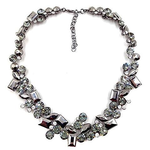 Halsreif Mode Mosaik Crystal Bib Halskette , black