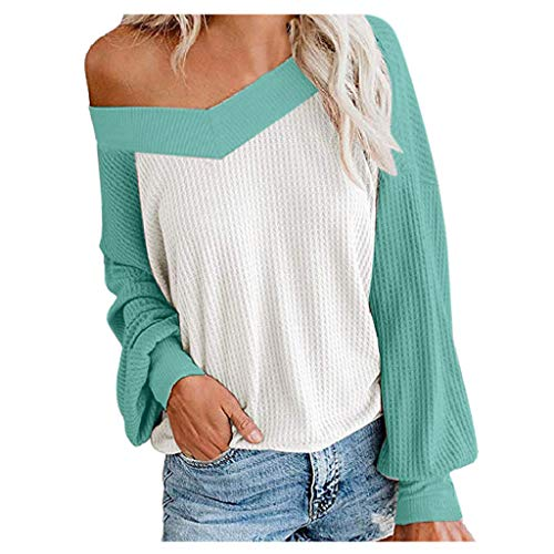 Floweworld Damen Casual Pullover Fashion Colorblock Volltonfarbe V-Ausschnitt Langarm Waffel Strick Schulterfrei Oversize Freizeit Pullover -