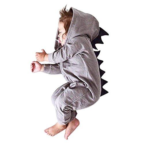 Kostüm Muster Dinosaurier - YASSON Unnisex Baby Spielanzug Cartoon 3D Dinosaurier Niedlich Muster Kostüm Jungen Mädchen Langarm Overall Bekleidung Hausanzug mit Kapuzen