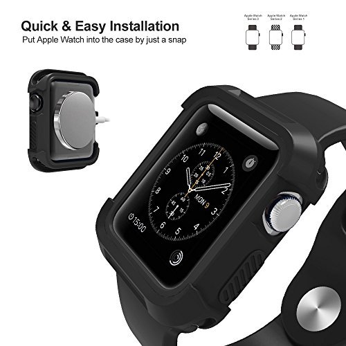 UMTELE Rugged Case for Apple Watch 42mm, Shock Proof Bumper Cover Scratch Resistant Protective Case for Apple Series 3, Series 2, Series 1, Black