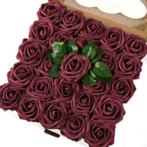 Breeze Talk Künstliche Blumen Rouge Rosen 25 Stück realistische künstliche Rosen mit Stiel für DIY Hochzeit Blumensträuße Tafelaufsätze Party Baby Dusche Zuhause Dekoration 50pcs Mauve
