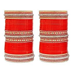 MUCH MORE Gorgeous Bold Red Color Bridal Chura Bangle For Women & Girls Wedding Wear Jewelry