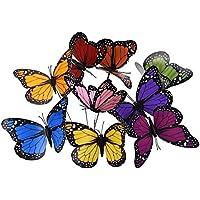 18pcs 12cm colorido jardín mariposas adornos en Sticks mariposa estacas para decoraciones de jardín patio al aire libre decoración de mariposas, 9colores