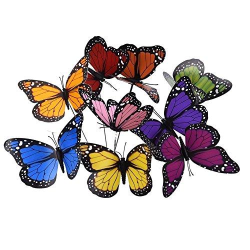 18pcs 12cm colorido jardín mariposas adornos en Sticks mariposa estacas para decoraciones...