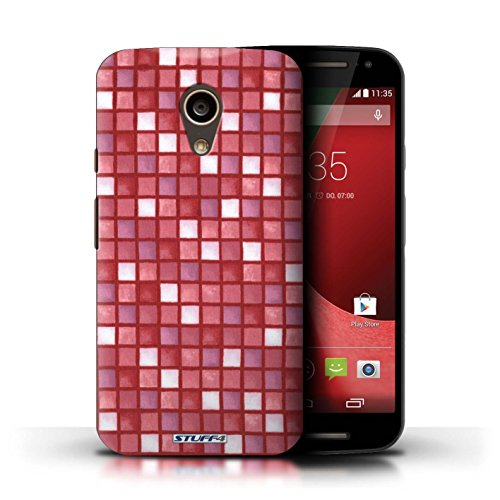 Kobalt® Imprimé Etui / Coque pour Motorola Moto G (2014) / Violet/Blanc conception / Série Carreau Bain Rouge