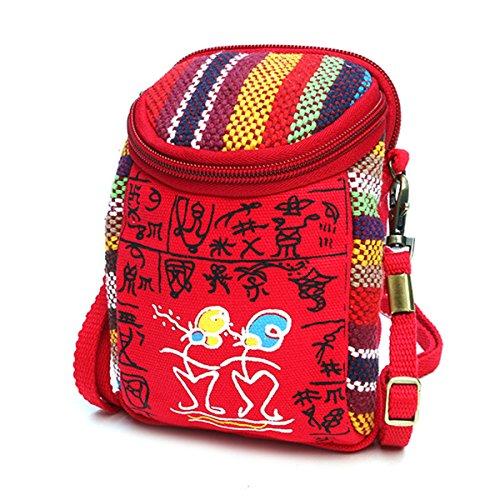 Galaxy Canvas Schulter Tasche (Handy Umhängetasche, JOSEKO Canvas Universal Handytasche zum Umhängen Geldbörse Kleine Tasche für Damen Frauen Mädchen Kinder iPhone 6 Plus 7 Plus Galaxy Note 5 4 S7 Edge Rot)