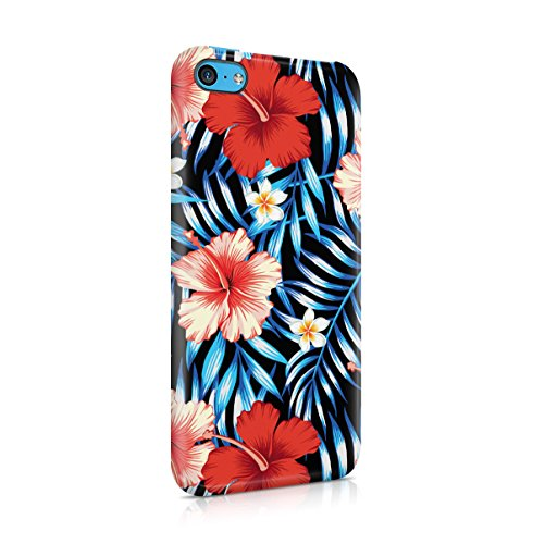 Tropical Floral Flowers Aloha Hawaii Exotic Jungle Pattern Print Apple iPhone 5C Snap-On Hard Plastic Protective Shell Case Cover Custodia Tropical Flowers