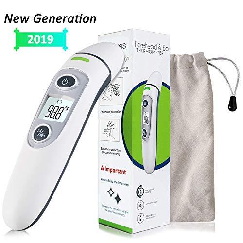 Fieberthermometer Sofortiges Lesen Stirn-und-Ohr Thermometer Digital Infrarot Thermometer mit Fieberwarnung für Baby Kinder Erwachsenen