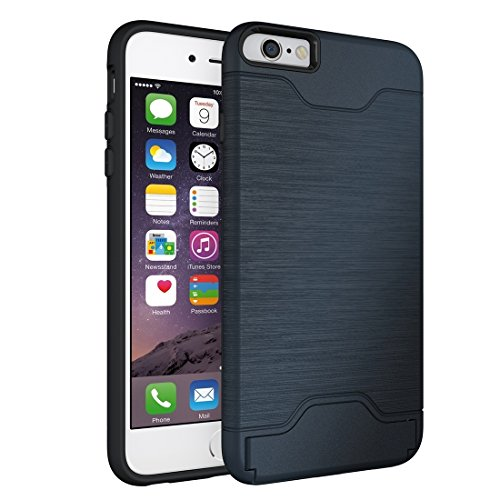 Phone case & Hülle Für iPhone 6 Plus / 6s Plus, gebürstete Textur abtrennbare TPU + PC Kombination zurück Fall mit Card Slot & Halter ( Color : Green ) Dark blue